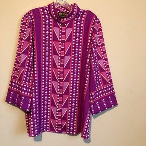 Bob Mackie Wearable Art Patterned  Button Down